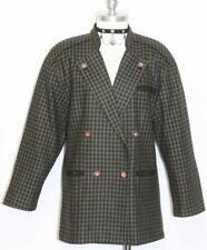 "TWEED WOOL Jacket GREEN & BLACK PLAID Women German Hunting Show Coat B43"" 12 M"
