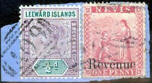 Nevis 1882 1d Brt Red SGF1 Fine Used on small piece with 1/2d of Leeward Is A...