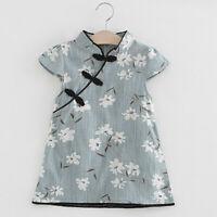 Toddler Kids Baby Girl Short Sleeve Floral Midi Dress Princess Party Clothes Set