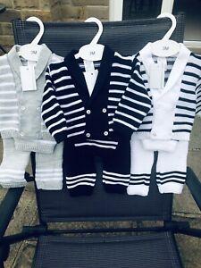 Spanish Knitted Baby Boys Romper Jacket Newborn 12 Mths 💕 Hat 3 Pc Chunky Navy