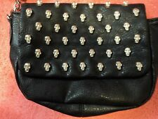 Yoki Studded  Leather    Metal    Chain Mini Bag Cross body Black  sculls studed