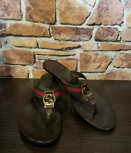 GUCCI Striped GG Logo EU 38 US 8 Sandals Flip Flop Thong Green Red Kitten Heels