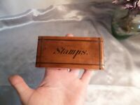 Gorgeous Small Oak Antique Stamp Box-Victorian/Edwardian