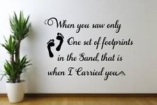 Footprints in the Sand w/ print Vinyl decal for Family Room Wall, Bedroom Living