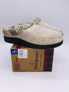 Dearfoams Women Memory Foam Slip On Clog Slippers Oatmeal Heather Grey L (9-10)