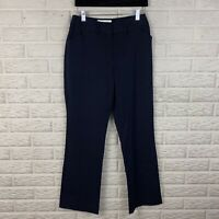 Nine & Co Women Dress Pants Size 4 Navy Blue Career Bootcut Mid Rise Stretch NEW