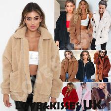 UK Womens Teddy Bear Oversized Coat Ladies Borg Zip Faux Fur Jacket Size6-18