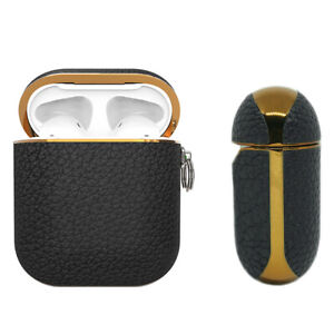 Apple AirPods Genuine Leather Case Black Luxury Shockproof Cover - Noir