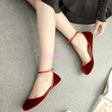 Womens Ladys Ballet Shoes Velvet Flat Heel Buckle ANkle Strap Retro Wedding Pump