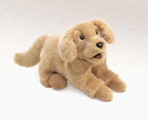 PLUSH SOFT TOY Folkmanis 2862 Golden Retriever Puppy Dog Full Body Hand Puppet