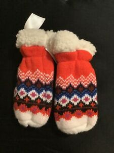 Old Navy- Faux Shearling Fleece Lined Sweater Mittens, size Medium