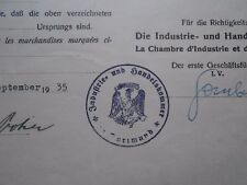 #8328 Germany Reich Dortmund Chamber of Commerce document w/ nazi seal 1935