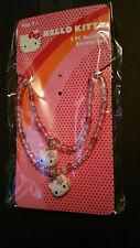 Hello Kitty Pink Purple 2 pc Necklace & Bracelet Set Great Gift Stocking Stuffer