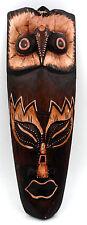 Masque ethnique Africain chouette en bois d'albésia déco Africaine