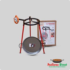 38cm Spanish Polished Steel Paella Pan & 30cm Gas Burner Kit / Set - Square Legs
