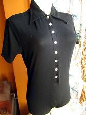 NEW NWOT MEDIUM True Vtg 70's Collared Black Mod Singlet Skin Tight Top Shirt