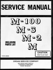 Service Manual for Hammond Organ M100, M-3, M-2, M series on CD