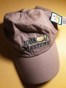 Official 2008 Masters Augusta National Golf Khaki Hat Cap Adjustable Authentic