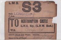L M S LONGTON  to NORTHAMPTON CASTLE Ticket    ( Gg20 )
