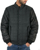 Mens Varsity Baseball Style Wool Mix Quilted Padded Bomber Jacket S - XXL
