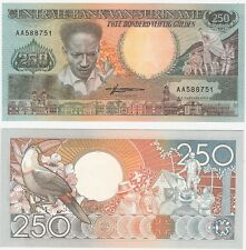 Suriname 250 Gulden 1988 P-134 UNC Uncirculated Banknote - Toucan
