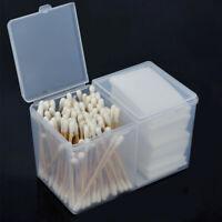 Translucent 2 Grid Cotton Pad Swab Storage Box Case Nail Art Tool Organizer HOT