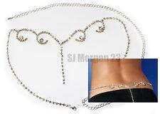 Sparkly Rhinstone Gem Swirl Drop Midriff Waist Body Chain. Size 25 to 45 inch