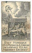 1750 ca GIUDIZIO DI DIO MORTE santino santini diavolo peccatore death