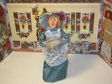 Byers Choice 1993 Elegant Victorian Woman with Blue Moire Dress and Lace Overlay
