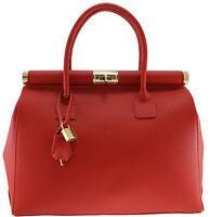 Borsa elegante bag donna pelle made in italy manici e tracolla rosso rossa 8005