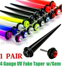 PAIR of 4 Gauge Fake Taper UV Acrylic with Gem Ear Cheater Plugs (Specify Color)