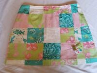 Lilly Pulitzer Skirt size 10 Patchwork Sea All Life Floral Pink White Green