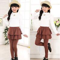3-11Y Kids Girls Ruffle Culottes Princess Tutu Skirt Cake Stretch Leggings Pants