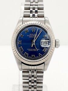 Rolex Datejust Ref. 79174 Stahl / Weißgold Lünette mit einem blauen Blatt