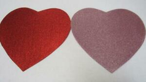 Valentine's Day Heart Shaped Metallic Glitter Sparkle Placemat Pink OR Red NEW