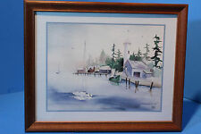 """Seascape """"Lighthouse"""" Fine Watercolor Painting by Madden, Artwork Reproduction"""