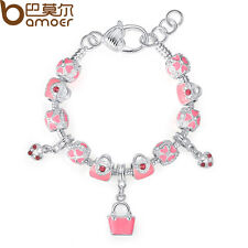 DIY Luxury European 925 Silver Bracelet With Pink Bag Charm Beads Women Birthday