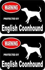 2 protected by English Coonhound dog home window vinyl decals stickers #A