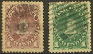 Newfoundland, #41, 44, 1 cent Violet Brown and 1c Deep Green, VF Centering, Used