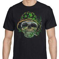 Weed Leaf T Shirt Cannabis Vintage Marijuana T-Shirt Stoner Skull Men Black Tee