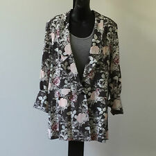 'SIROCCO' BNWT SIZE '10' GREY, PINK & WHITE FLORAL LINED LONGER LENGTH JACKET
