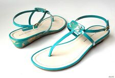 new MARC JACOBS turquoise patent T-strap LOGO thong sandals shoes 38.5 US 8.5