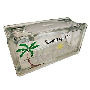 HOLIDAY FUND savings letterbox reusable glass money box. Can be personalised!