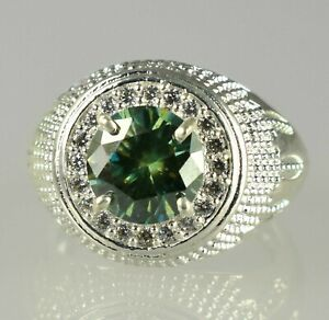 Men's Latest Collection 5.07 Ct Green Diamond Solitaire Halo Men's Ring