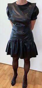 K.-Leder Mini-Volant-Kleid XL schwarz Rüschen Puffärmel A-Form Gothic Sissy Maid