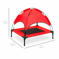 """30"""" Outdoor Elevated Raised Cooling Dog Bed Sun Shade Canopy Top Tent Travel Bag"""