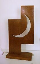 """Art Wood Sculpture Titled """"Crescent Moon"""" Mahogany Wood by Ross D Jahnig"""