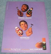 1997 Edge Shaving Gel Vintage Ad with Green Bay Packer Reggie White Brett Favre