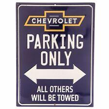 "Chevrolet Parking Only Embossed Metal decor 12"" X 9"" Cruz corvette camaro New."