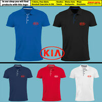 KIA Slim Fit Polo T Shirt EMBROIDERED Auto Car Logo Tee Mens Clothing Gift